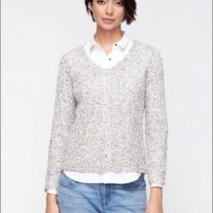 Eileen Fisher V-Neck Speckled Cotton Knit Sweater